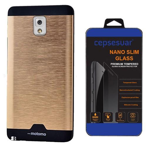 Cepsesuar Samsung Galaxy Note 3 Kılıf Motomo Gold + Kırılmaz Cam