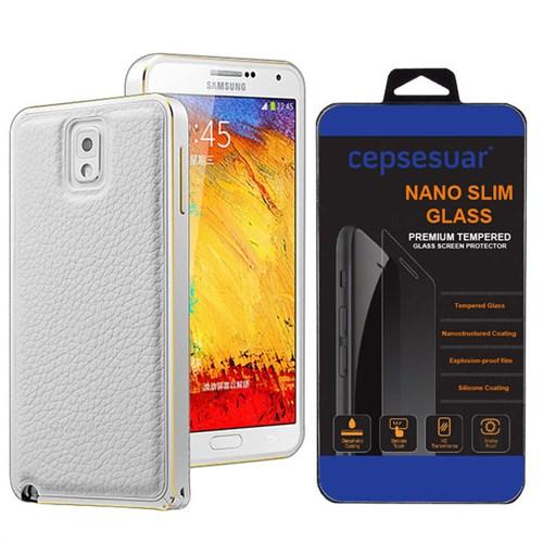 Cepsesuar Samsung Galaxy Note 3 Kılıf Arkası Deri Bumper Beyaz + Kırılmaz Cam