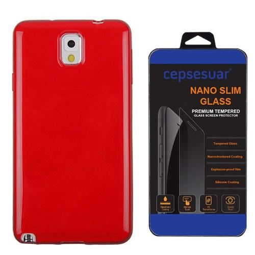 Cepsesuar Samsung Galaxy Note 3 Kılıf Silikon Kırmızı + Kırılmaz Cam