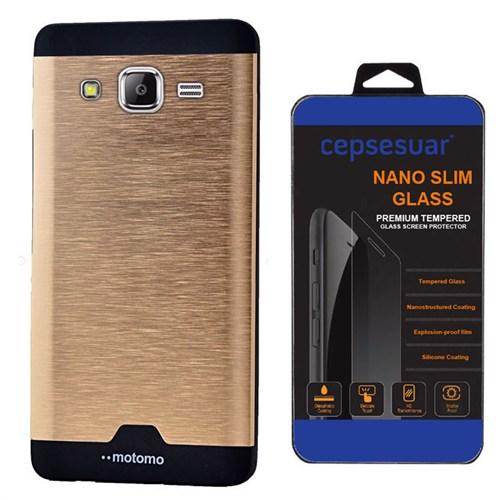 Cepsesuar Samsung Galaxy Grand Prime Kılıf Motomo Gold + Kırılmaz Cam
