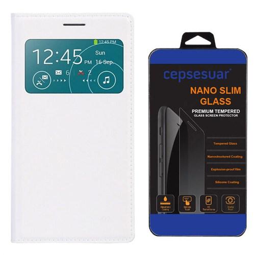 Cepsesuar Samsung Galaxy Grand 2 Kılıf Flip Cover Beyaz + Kırılmaz Cam