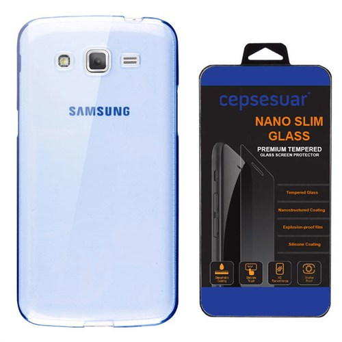 Cepsesuar Samsung Galaxy Grand 2 Kılıf Silikon 0.2 Mm Mavi + Kırılmaz Cam