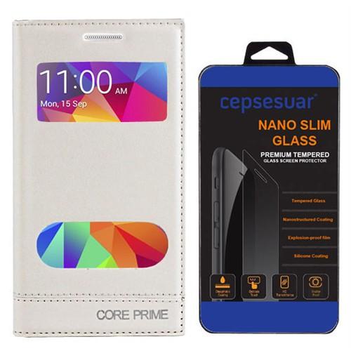 Cepsesuar Samsung Galaxy Core Prime Kılıf Milano Pencereli Beyaz + Kırılmaz Cam