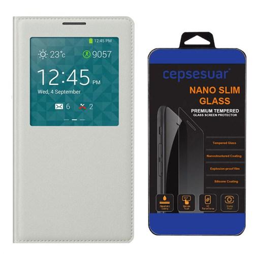Cepsesuar Samsung Galaxy Core Prime Kılıf Flip Cover Beyaz + Kırılmaz Cam
