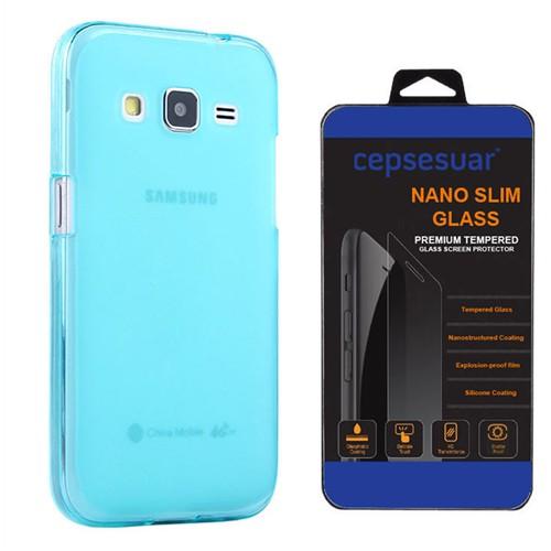 Cepsesuar Samsung Galaxy Core Prime Kılıf Silikon 0.2 Mm Mavi + Kırılmaz Cam