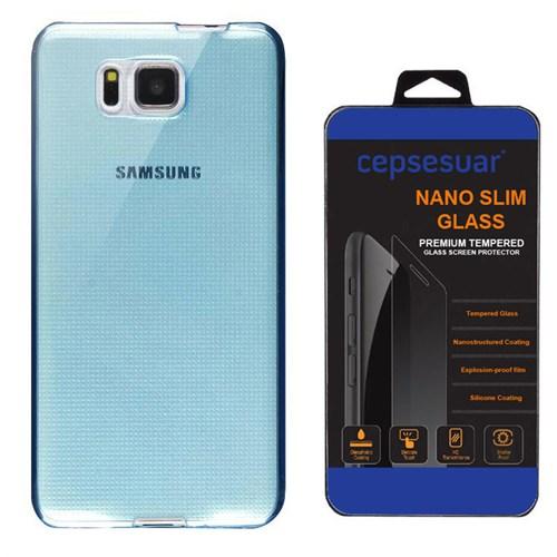 Cepsesuar Samsung Galaxy Alpha Kılıf Silikon 0.2 Mm Mavi + Cam