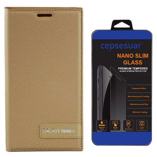 Cepsesuar Samsung Galaxy Note 4 Kılıf Safir Kapaklı Gold + Kırılmaz Cam