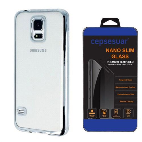 Cepsesuar Samsung Galaxy S5 Kılıf Silikon Lazer Gümüş + Kırılmaz Cam