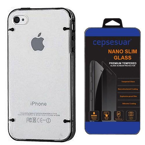 Cepsesuar Apple İphone 4 - 4S Kılıf Silikon 4 Noktalı Siyah + Kırılmaz Cam