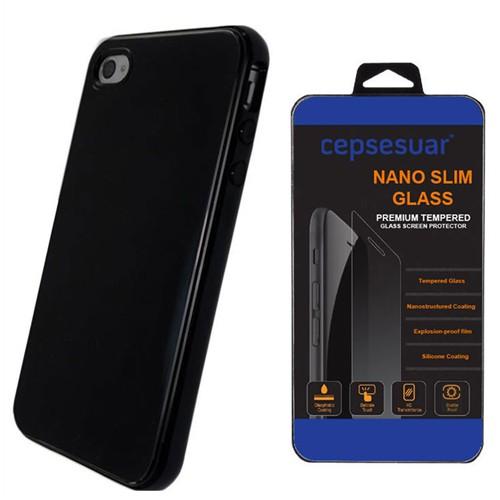 Cepsesuar Apple İphone 4 - 4S Kılıf Silikon Siyah + Kırılmaz Cam