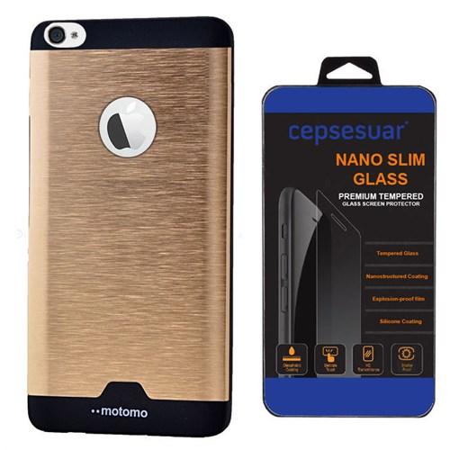 Cepsesuar Apple İphone 4 - 4S Kılıf Motomo Gold + Kırılmaz Cam