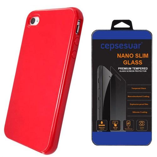 Cepsesuar Apple İphone 4S Kılıf Silikon Kırmızı + Kırılmaz Cam
