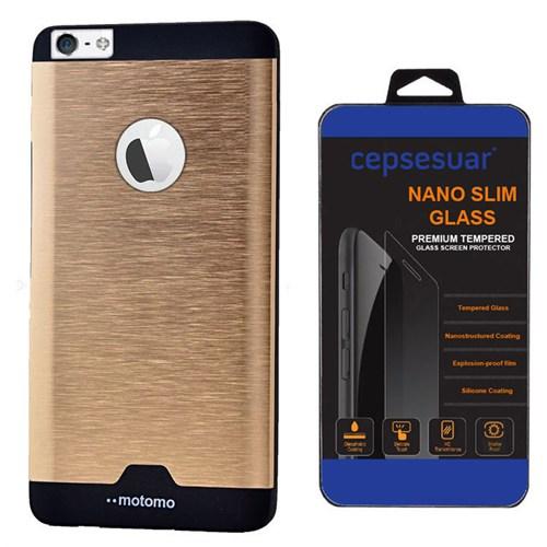 Cepsesuar Apple İphone 5 - 5S Kılıf Motomo Siyah + Kırılmaz Cam