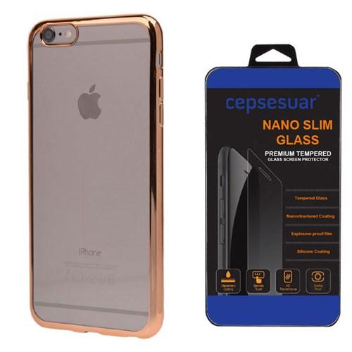 Cepsesuar Apple İphone 6 Plus Kılıf Silikon Lazer Gold + Kırılmaz Cam