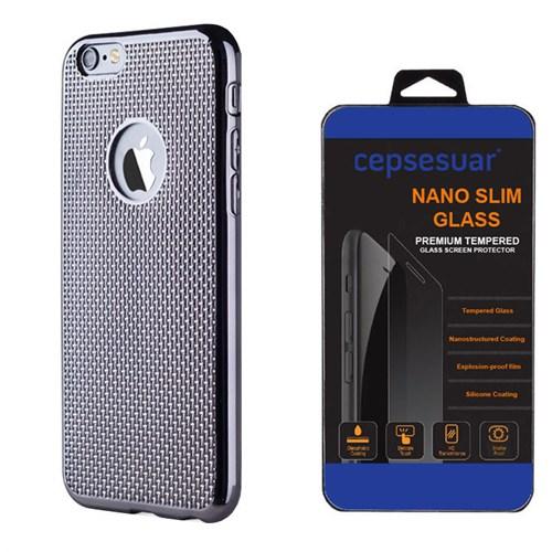 Cepsesuar Apple İphone 6S Plus Kılıf Silikon Hasır Siyah + Kırılmaz Cam