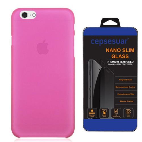 Cepsesuar Apple İphone 6S Kılıf Silikon 0.2 Mm Pembe + Kırılmaz Cam
