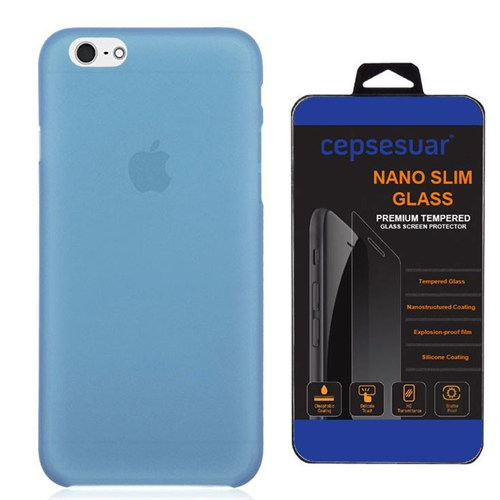 Cepsesuar Apple İphone 6S Kılıf Silikon 0.2 Mm Mavi + Kırılmaz Cam