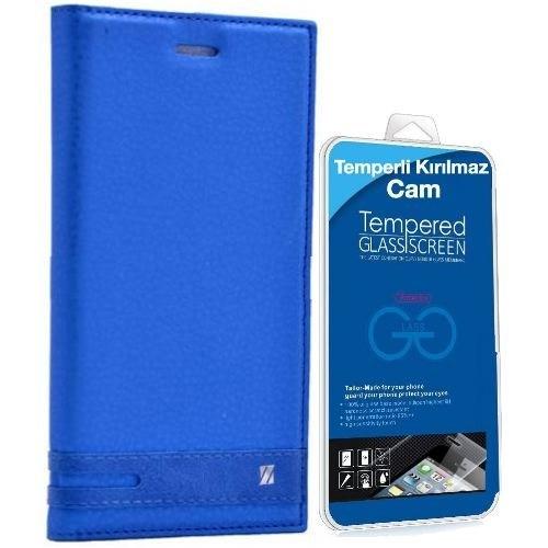 Teleplus Vodafone Smart Style 7 Mıknatıslı Lux Kapaklı Kılıf Mavi + Kırılmaz Cam