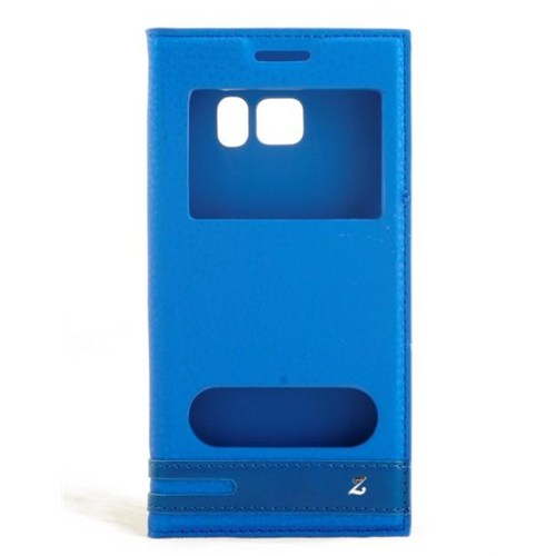 Techmaster Samsung Galaxy S7 Mavi Kılıf Pencereli Mıknatıslı