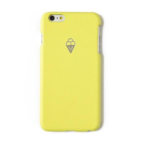 Sembol Baskılı Sarı Deri Telefon Kılıfı - İphone 6 Plus / 6S Plus