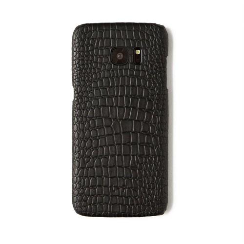 Timsah Baskı Siyah Deri Telefon Kılıfı - Samsung Galaxy S7 Edge
