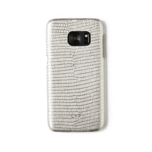 Kertenkele Baskı Gümüş Deri Telefon Kılıfı - Samsung Galaxy S7