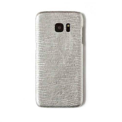 Kertenkele Baskı Gümüş Deri Telefon Kılıfı - Samsung Galaxy S7 Edge