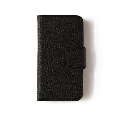Siyah Deri Kapaklı Telefon Kılıfı - Samsung Galaxy S6