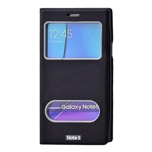 Kılıfshop Samsung Galaxy Note 5 Dolce Pencereli Kılıf (Siyah)