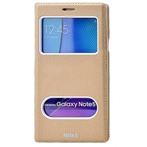 Kılıfshop Samsung Galaxy Note 5 Dolce Pencereli Kılıf (Gold)