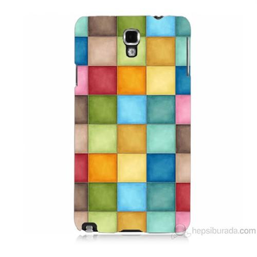 Teknomeg Samsung Galaxy Note 3 Neo Kapak Kılıf Renkli Kareler Baskılı Silikon