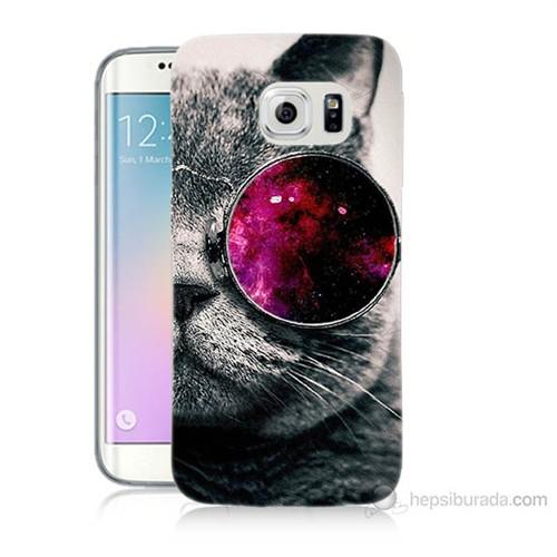 Teknomeg Samsung Galaxy S6 Edge Kapak Kılıf Kedi Baskılı Silikon
