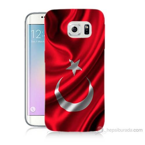 Teknomeg Samsung Galaxy S6 Edge Kapak Kılıf Türkiye Bayrağı Baskılı Silikon