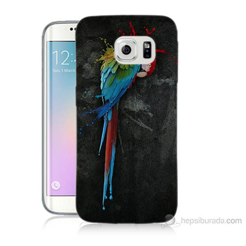 Teknomeg Samsung Galaxy S6 Edge Kapak Kılıf Papağan Baskılı Silikon