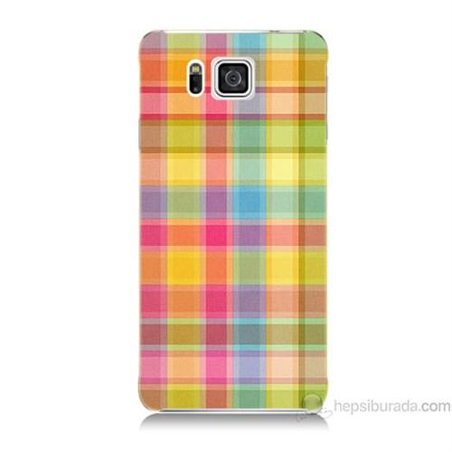 Teknomeg Samsung Galaxy Alpha Kapak Kılıf Ekose Baskılı Silikon