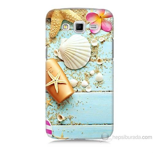 Teknomeg Samsung Galaxy Grand 2 Kapak Kılıf Deniz Kabuğu Baskılı Silikon