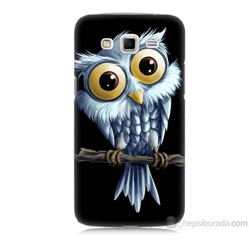 Teknomeg Samsung Galaxy Grand 2 Kapak Kılıf Beyaz Baykuş Baskılı Silikon