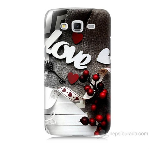 Teknomeg Samsung Galaxy Grand 2 Kapak Kılıf Love Baskılı Silikon