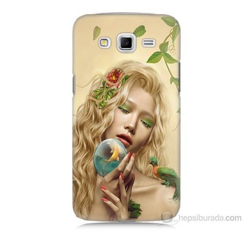 Teknomeg Samsung Galaxy Grand 2 Kapak Kılıf Sade Kadın Baskılı Silikon