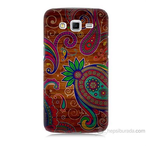 Teknomeg Samsung Galaxy Grand 2 Kapak Kılıf Çiçek Deseni Baskılı Silikon