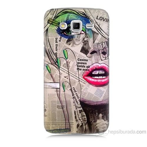 Teknomeg Samsung Galaxy Grand 2 Kapak Kılıf Gazete Kadın Baskılı Silikon