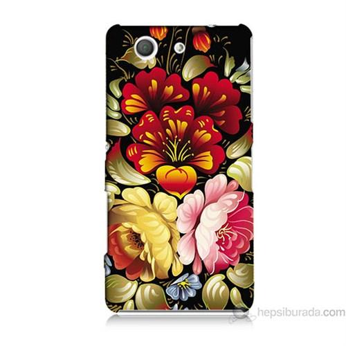 Teknomeg Sony Xperia Z3 Mini Kılıf Kapak Çiçekler Baskılı Silikon