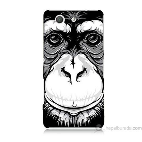 Teknomeg Sony Xperia Z3 Mini Kılıf Kapak Maymun Baskılı Silikon