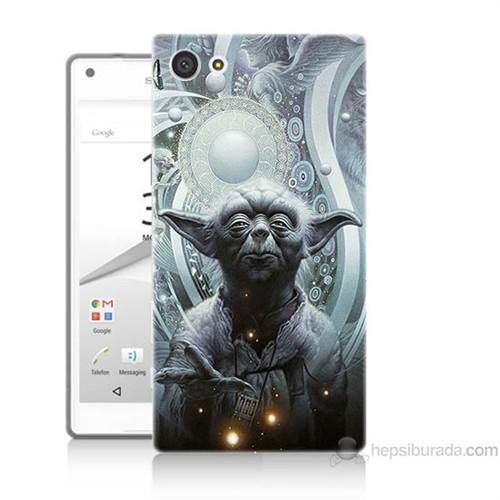 Teknomeg Sony Xperia Z5 Mini Kapak Kılıf Güç Uyanıyor Yoda Baskılı Silikon