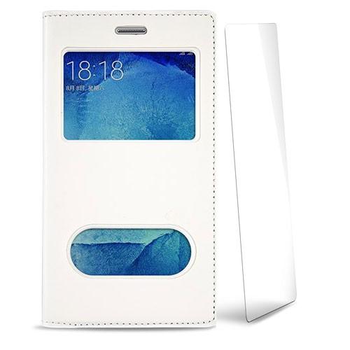 Volpawer Samsung Galaxy J5 Pencereli Kılıf + Kırılmaz Cam Ekran Koruyucu Beyaz