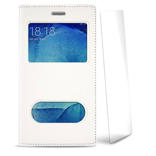 Volpawer Samsung Galaxy A5 2016 New Pencereli Kılıf + Kırılmaz Cam Ekran Koruyucu Beyaz