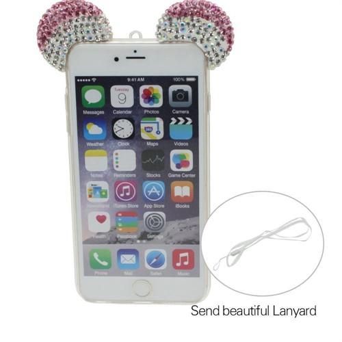 Markaawm Apple iPhone 6 6S Kılıf Mickey Kulaklı Taşlı