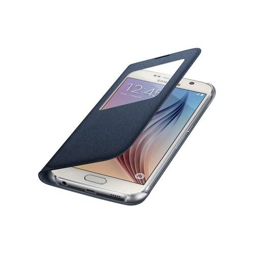 Samsung İ9800 Galaxy S6 Orjinal Uyku Modlu Pencereli Fabric Kılıf-Lacivert