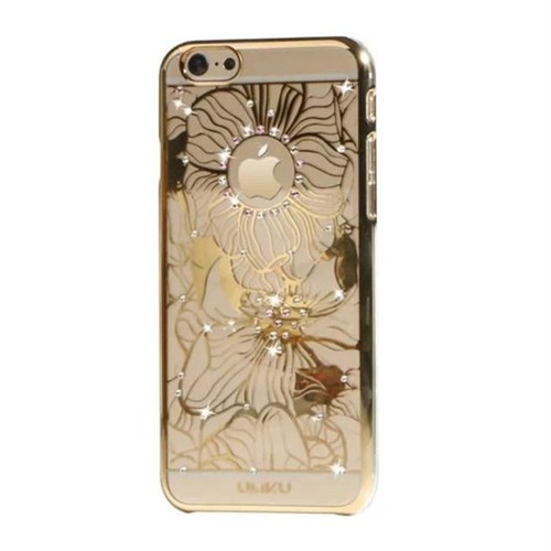 Umku Gold Zirkon Taşlı İphone 6 Kapak - Çiçek