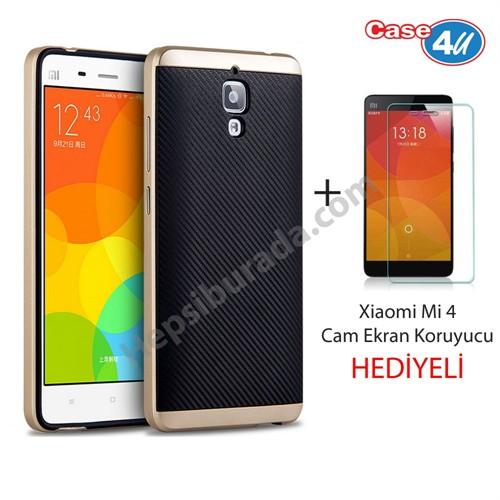 Case 4U Xiaomi Mi 4 Hybrid Kapak Altın (Cam Ekran Koruyucu Hediyeli)